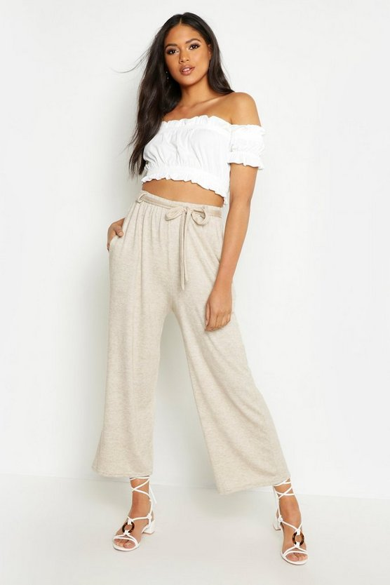 Womens Stone Tall Tie Front Knitted Culottes