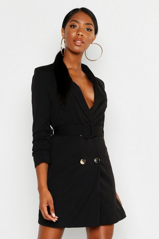 Womens Black Tall Belted Blazer Dress