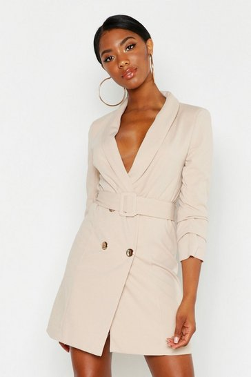 Womens Stone Tall Belted Blazer Dress