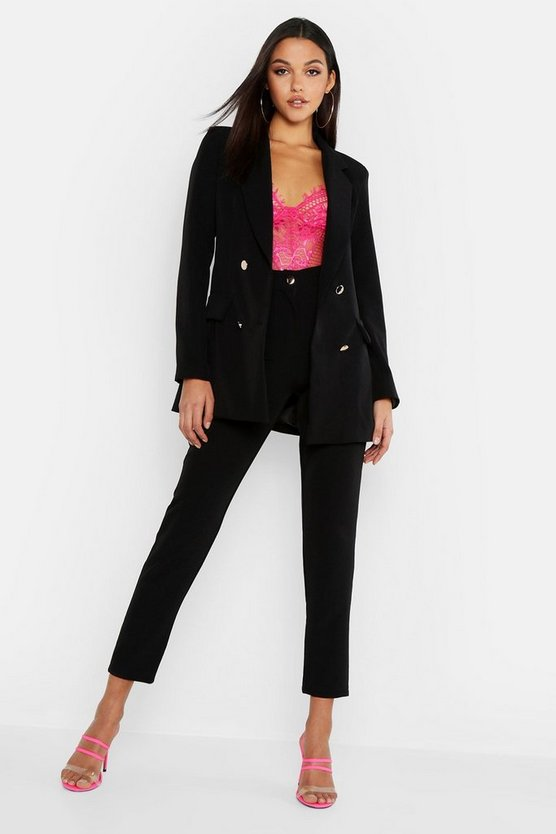 Tall Neon Tailored Trouser, Black, Donna