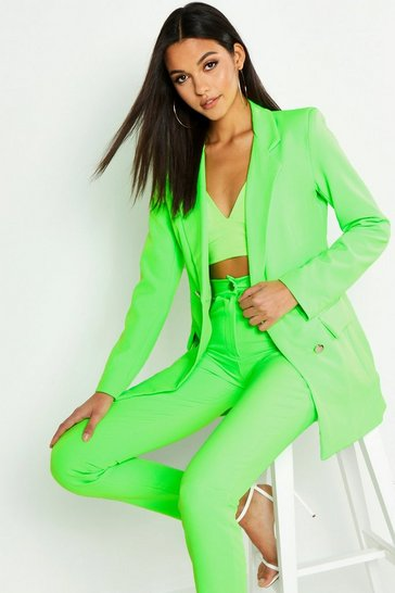 Womens Neon-green Tall Neon Tailored Blazer