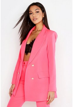 Womens Neon-pink Tall Neon Tailored Blazer