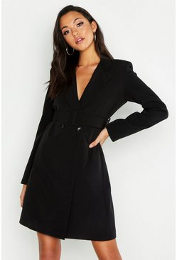 Womens Black Tall Self Belt Neon Blazer Dress