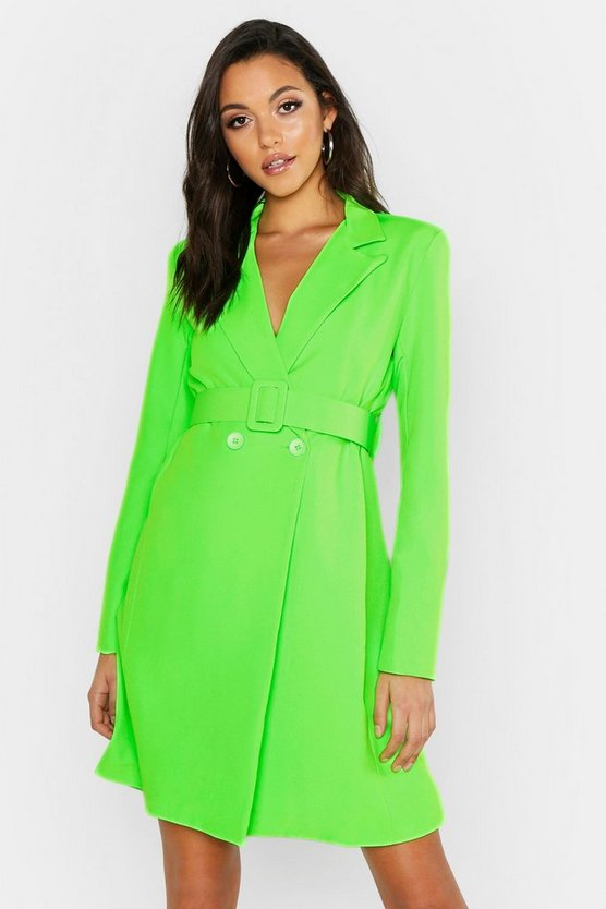 Womens Neon-lime Tall Self Belt Neon Blazer Dress