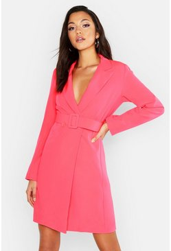 Womens Neon-pink Tall Self Belt Neon Blazer Dress