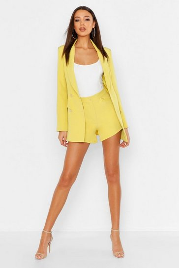 Womens Yellow Tall Tailored Short