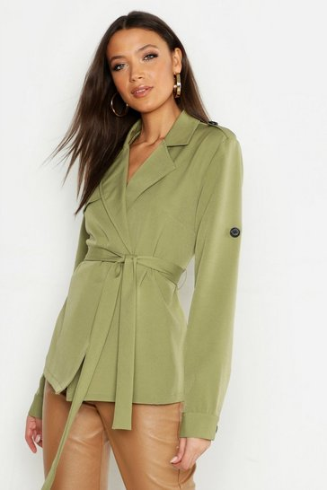 Womens Khaki Tall Trench Coat