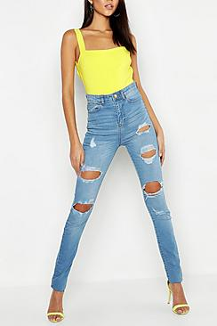 Tall One Button Distress High Rise Skinny Jean