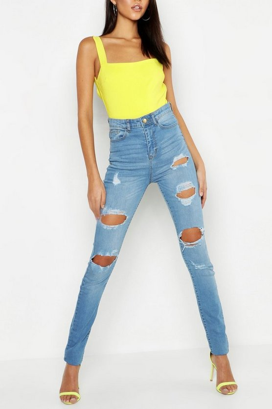 Tall High-Rise Skinny Jeans in Destroyed-Optik mit einem Knopf, Hellblau, DAMEN