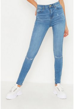 Womens Mid blue Tall Rip Knee Skinny Jean