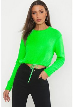 Womens Neon-green Tall Ruched Hem Soft Knit Jumper