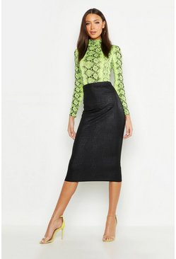 Black Tall Snake PU Embossed Midi Skirt
