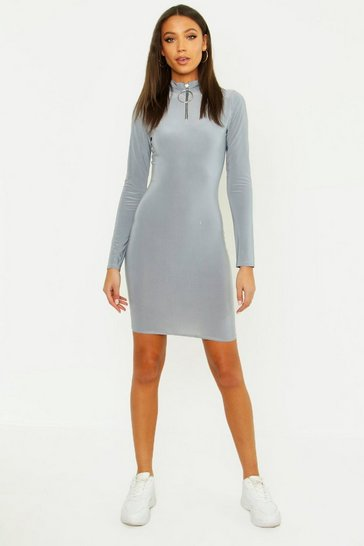 Womens Silver Tall O Ring Zip Slinky Bodycon Dress