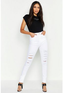 Tall Skinny Jeans in Destroyed-Optik mit 5 Taschen, Naturfarben, Damen