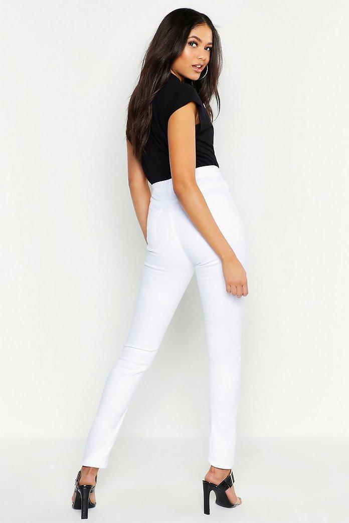 Tall Skinny Jeans in Destroyed Optik mit 5 Taschen | boohoo