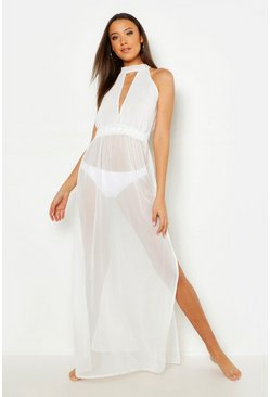 Womens White Tall Side Split Maxi Beach Dress