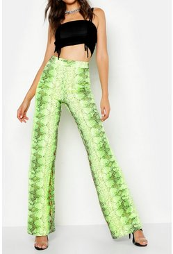 Womens Neon-green Tall Neon Snake Wide Leg Trouser