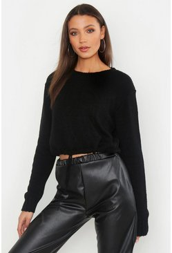 Womens Black Tall Ruched Hem Soft Knit Jumper