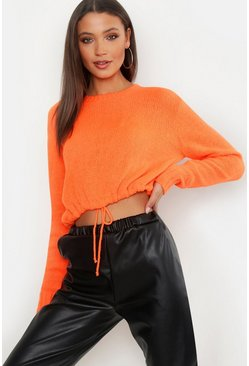 Womens Neon-orange Tall Ruched Hem Soft Knit Jumper