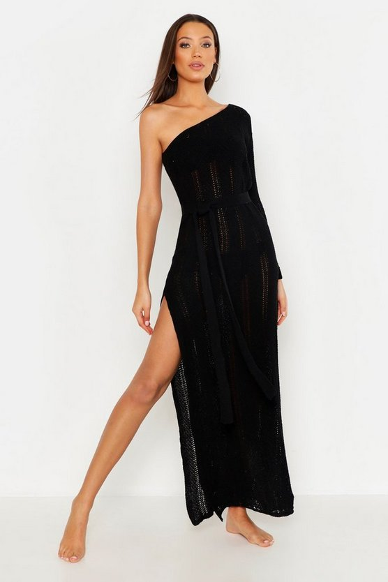 Womens Black Tall One Shoulder Knitted Beach Dress
