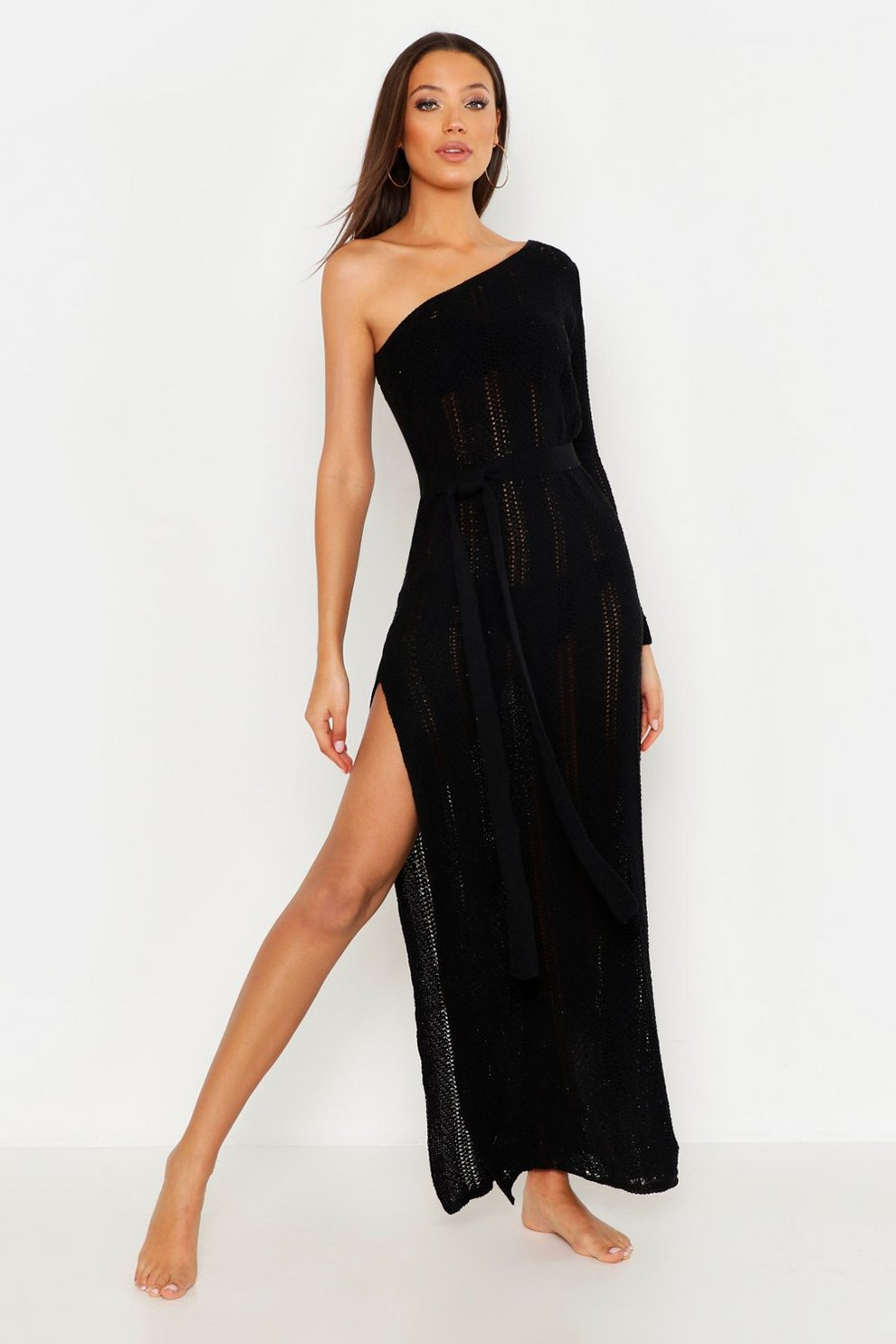 8789c7255b6f Womens Black Tall One Shoulder Knitted Beach Dress. Hover to zoom