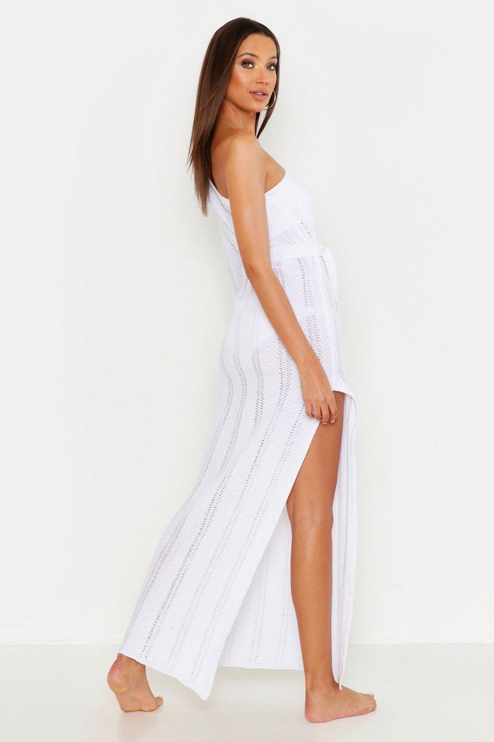ac10fcf357e5 Tall One Shoulder Knitted Beach Dress | Boohoo