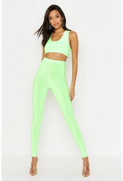 Womens Neon-lime Tall Neon Leggings