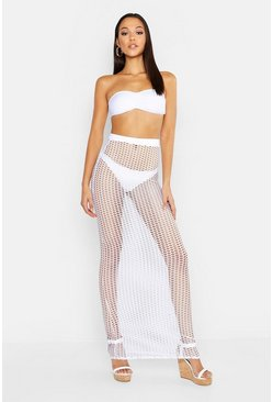 Womens White Tall Net Maxi Beach Skirt