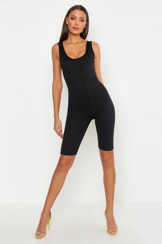 Womens Black Tall Jumbo Rib Neon Unitard