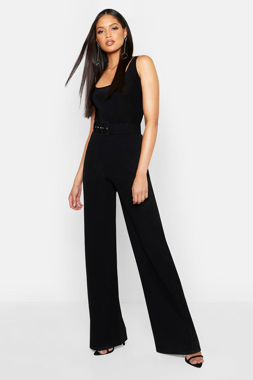 Tall Self Fabric Belted Wide Leg Trouser