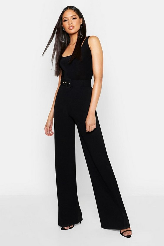 Womens Black Tall Self Fabric Belted Wide Leg Trouser