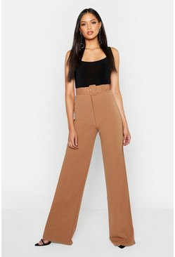 Womens Camel Tall Self Fabric Belted Wide Leg Trouser
