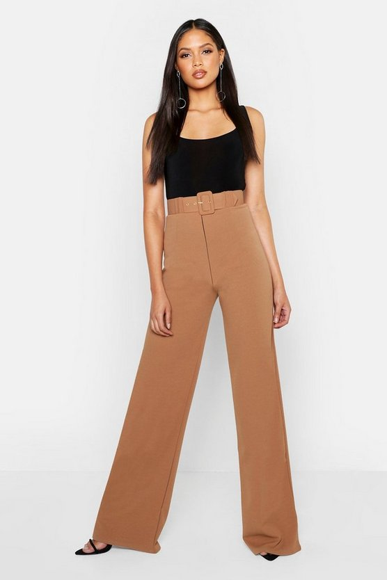 Womens Camel Tall Self Fabric Belted Wide Leg Pants