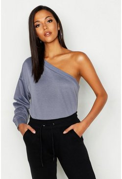 Womens Pastel blue Tall One Shoulder Sweat