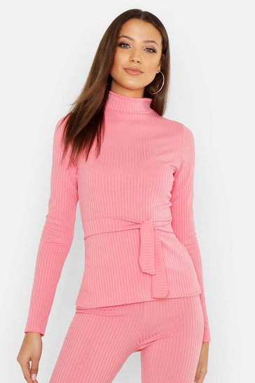 Womens Coral Tall Jumbo Rib High Neck Belted Top