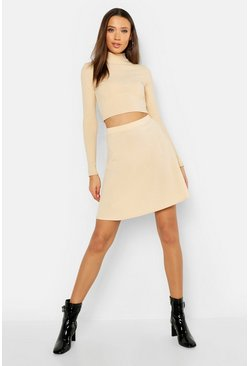 Womens Ecru Tall Rib Skater Skirt