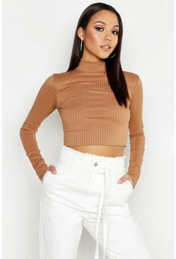 Womens Camel Tall Jumbo Rib High Neck Crop Top
