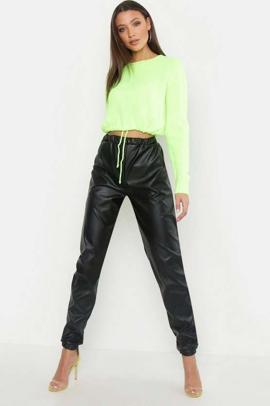 Womens Black Tall PU Joggers