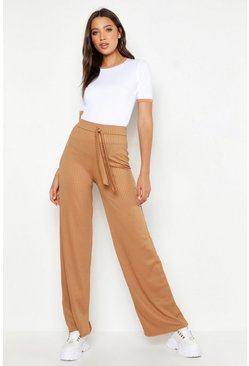 Womens Camel Tall Jumbo Rib Belted Pants