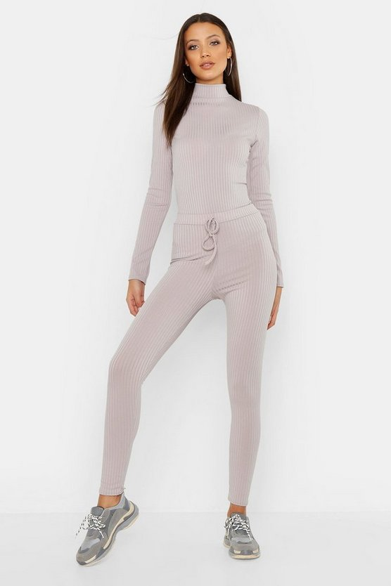 Womens Grey Tall Tie Waist Rib Leggings