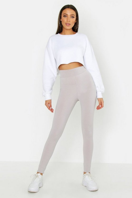 Womens Grey Tall Jumbo Rib High Waisted Leggings