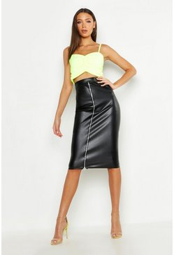 Womens Black Tall PU Zip Detail Midi Skirt