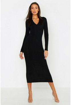 Black Tall Jumbo Rib Notch Neck Midaxi Dress