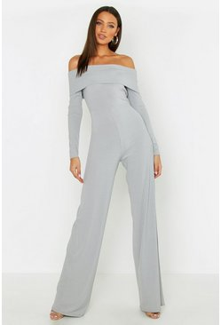 Womens Grey Tall Jumbo Bardot Wide Leg Jumpsuit