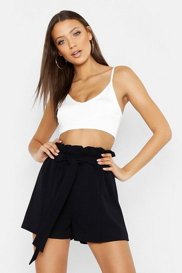 Womens Black Tall Paperbag Waist Belted Shorts