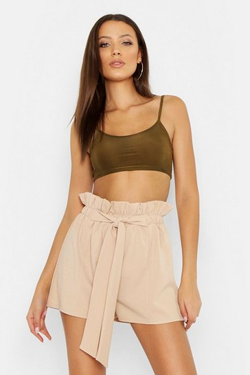 Womens Stone Tall Paperbag Waist Belted Shorts
