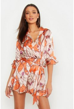 Womens Orange Tall Scarf Print Ruffle Playsuit