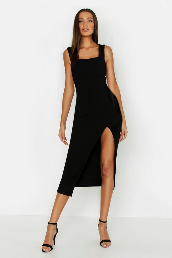 Womens Black Tall Square Neck Side Split Midi Dress
