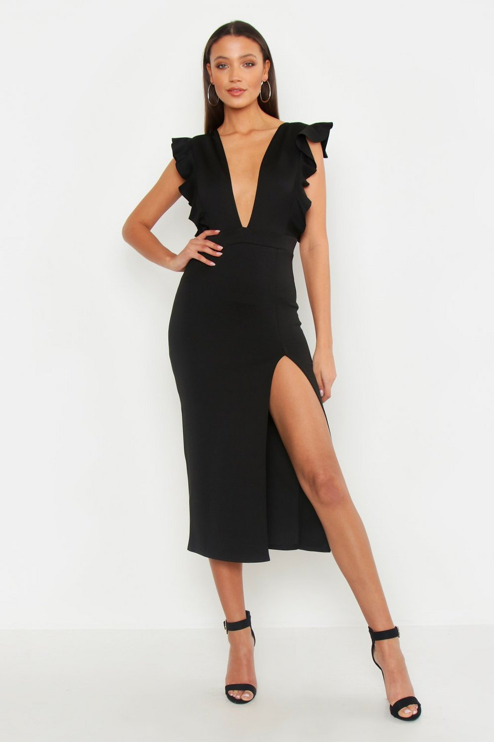 8032158cff78 Tall Ruffle Plunge Thigh Split Midi Dress | Boohoo