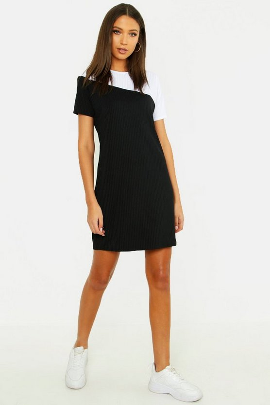 Tall Colour Block Tonal Rib T-shirt Dress